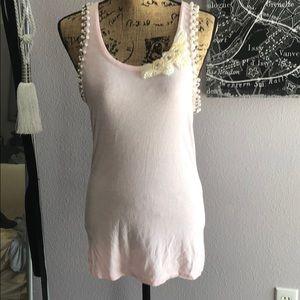 Charlotte Russe Pink pearl embellished tank top